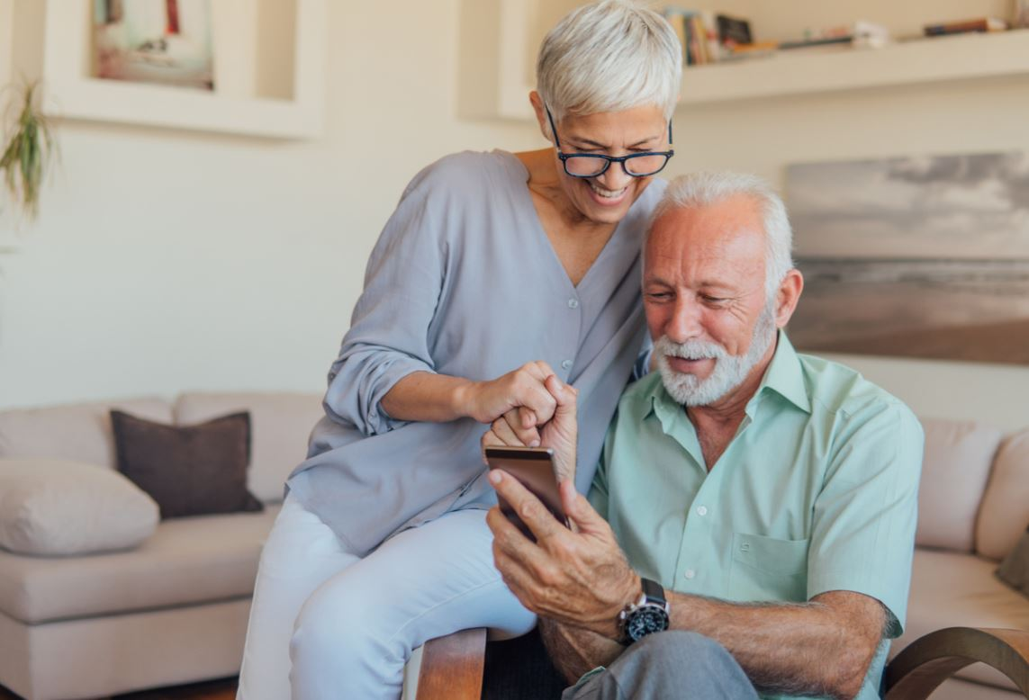 Couple Senior Telephone
