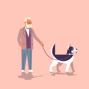 Senior Man Walking With Husky Dog Grandfather With His Animal Pet Best Friend Concept Flat Cartoon Character Full Length