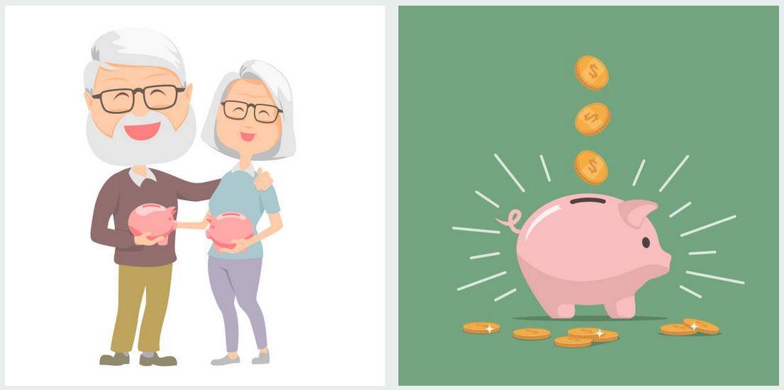 Illustration Couple Senior Retraites Avec Argent Cotisation